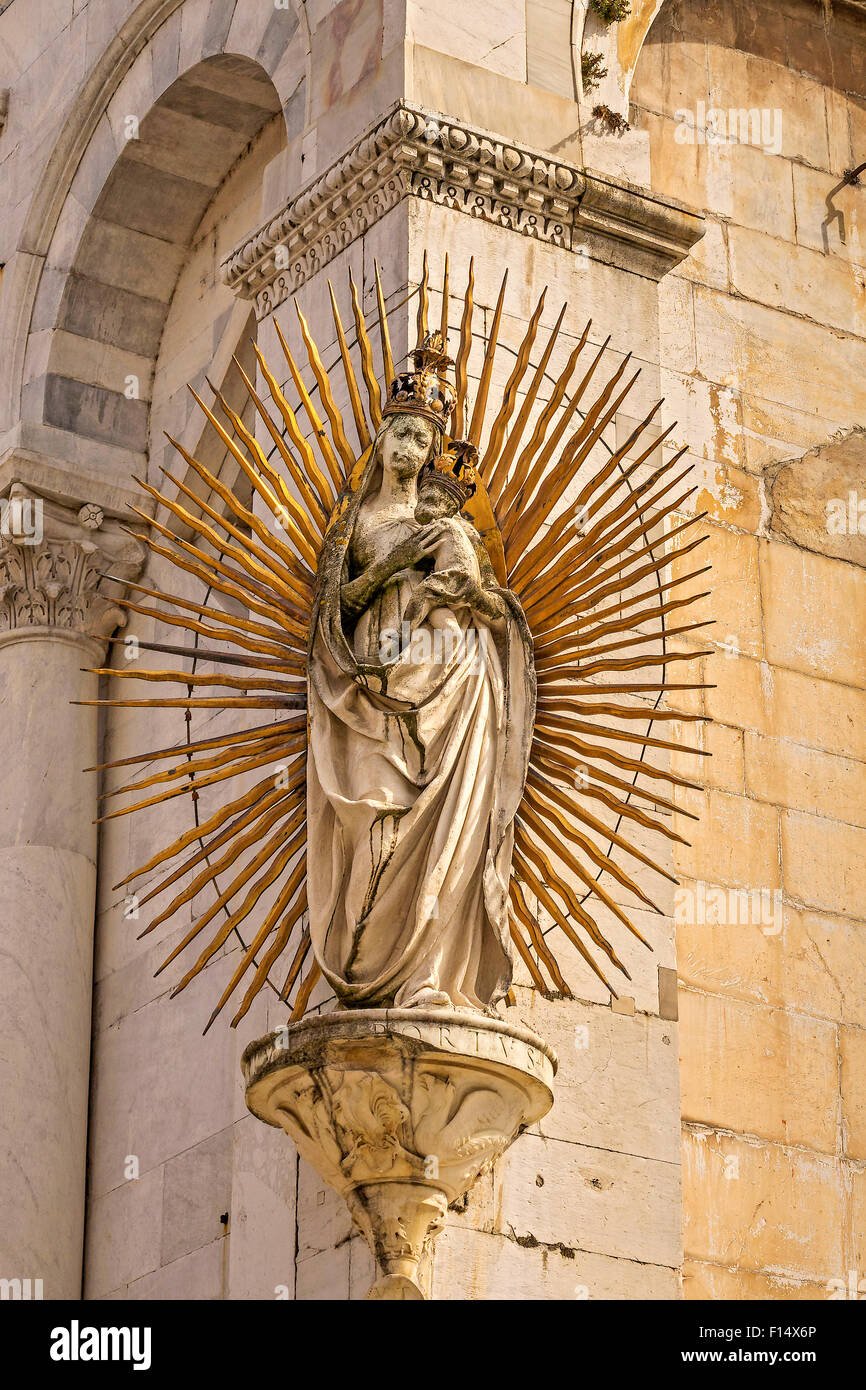 San Michele Church Statue Lucca Tuscany Italy - Stock Image