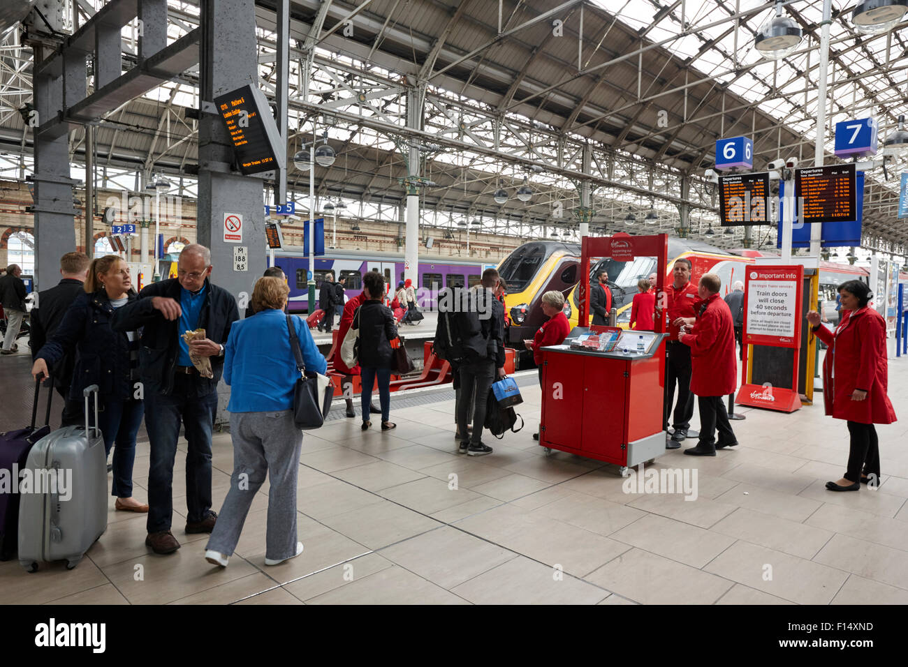 virgin trains check in desks at Piccadilly train station Manchester UK - Stock Image