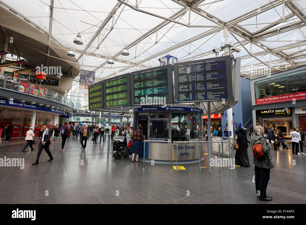 train information display at Piccadilly train station Manchester UK - Stock Image