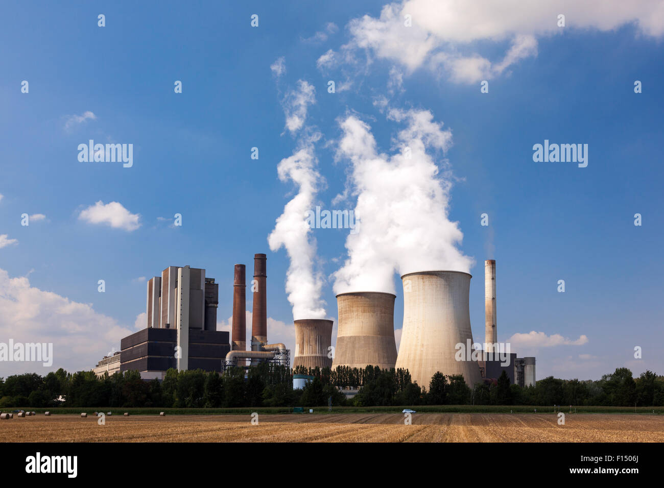 Cooling towers of a nuclear power station - Stock Image
