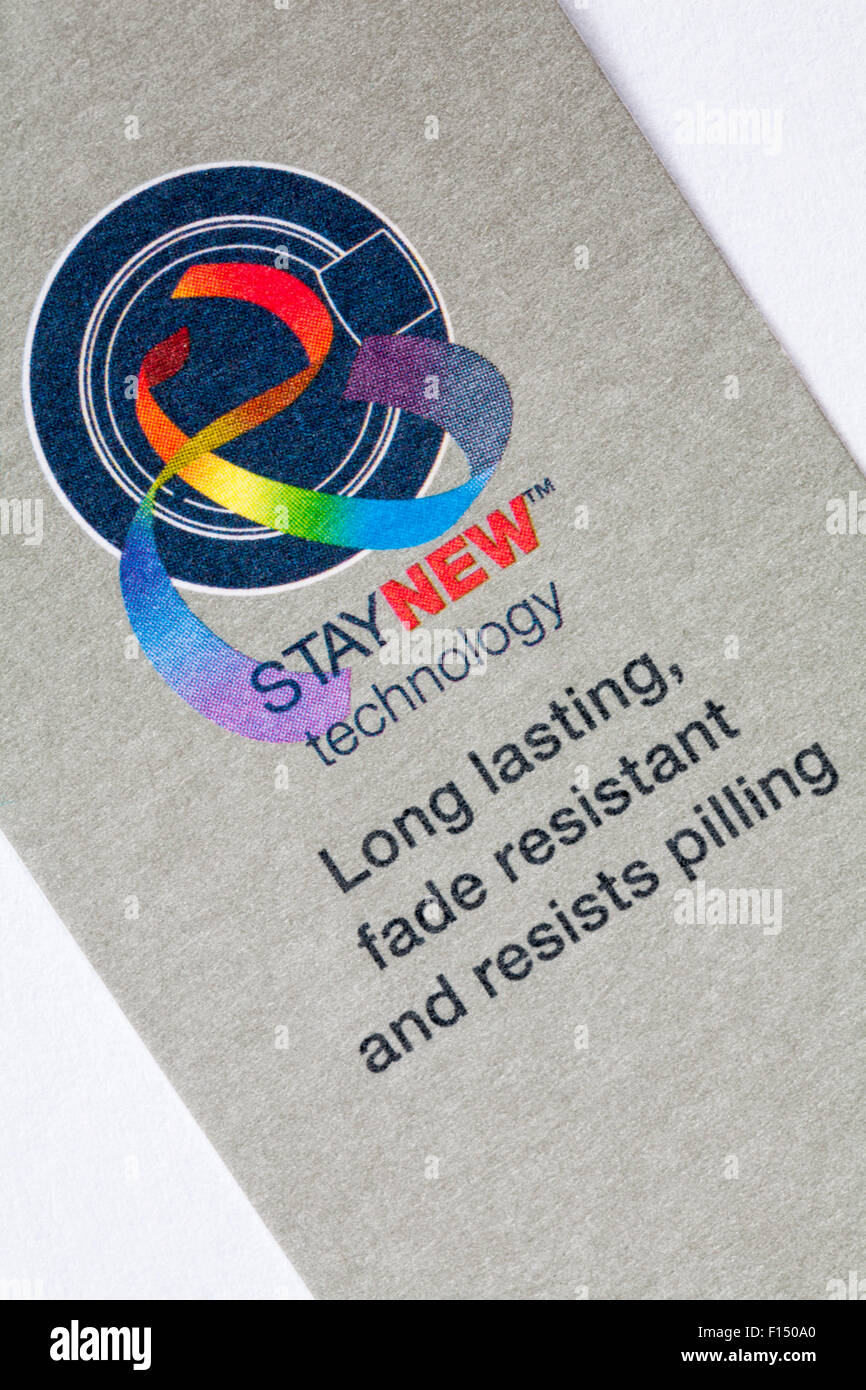 StayNew technology long lasting fade resistant and resists pilling label from M&S Collection t-shirt - Stock Image