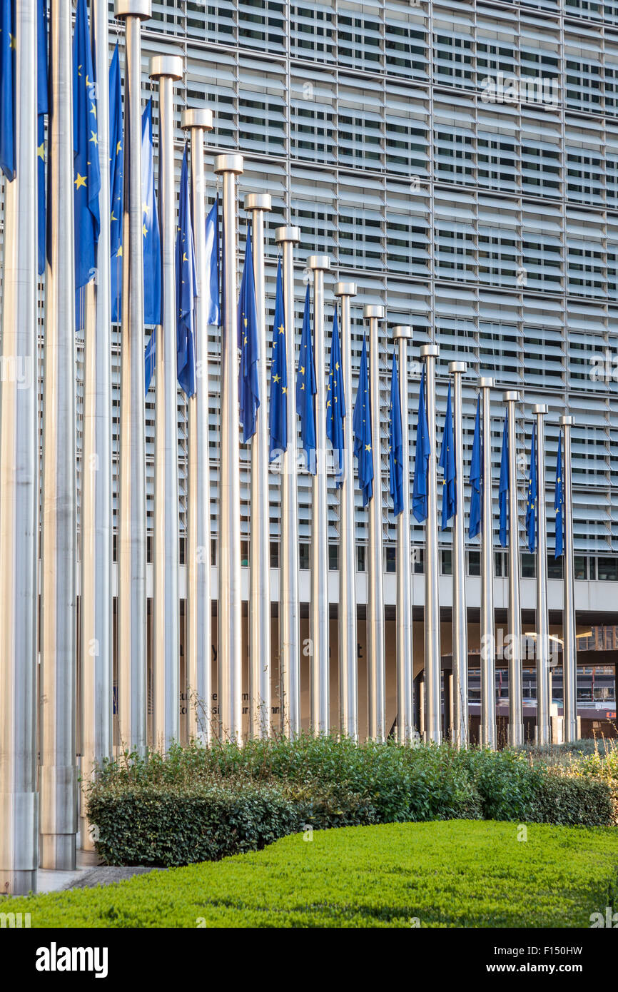 European Union flags in front of the European Comission building in Brussels, Belgium - Stock Image