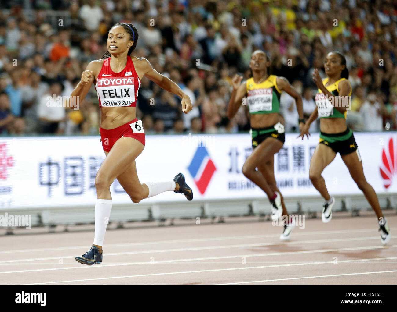 (150827) -- BEIJING, Aug. 27, 2015 (Xinhua) -- Allyson Felix of the United States competes during the women's - Stock Image