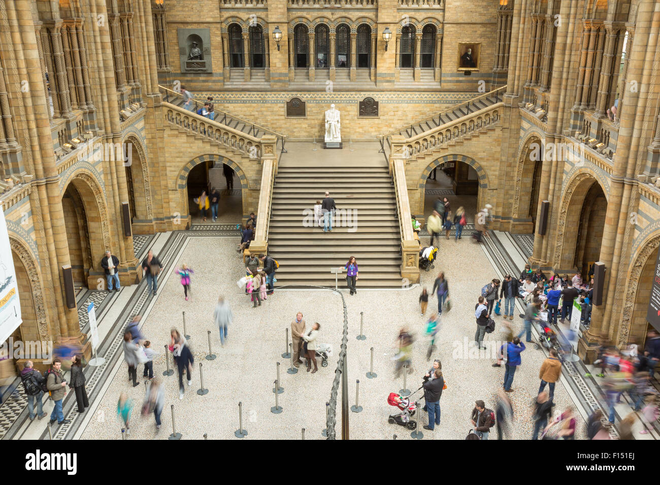 LONDON, UK - APRIL 28, 2013: People in the main hall at London's Natural History Museum. - Stock Image