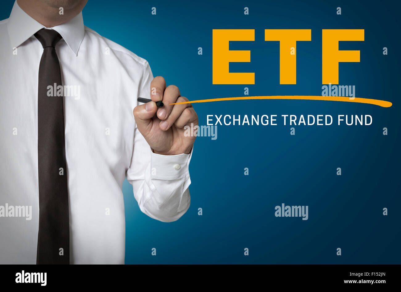 ETF is written by businessman background. Stock Photo