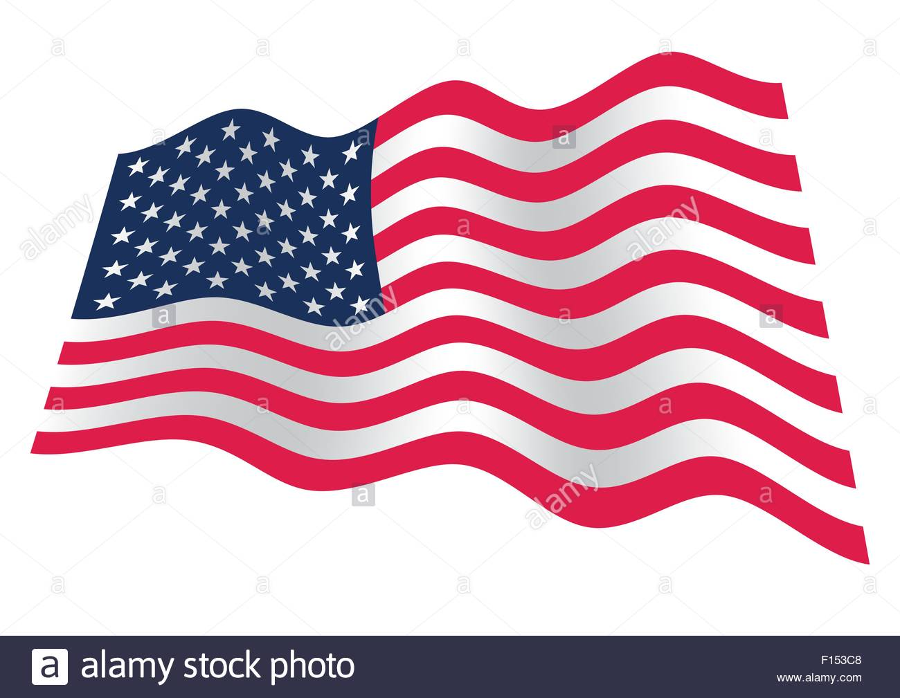 a0dc0e276de9 American flag with stars and stripes waving on the wind - Stock Vector
