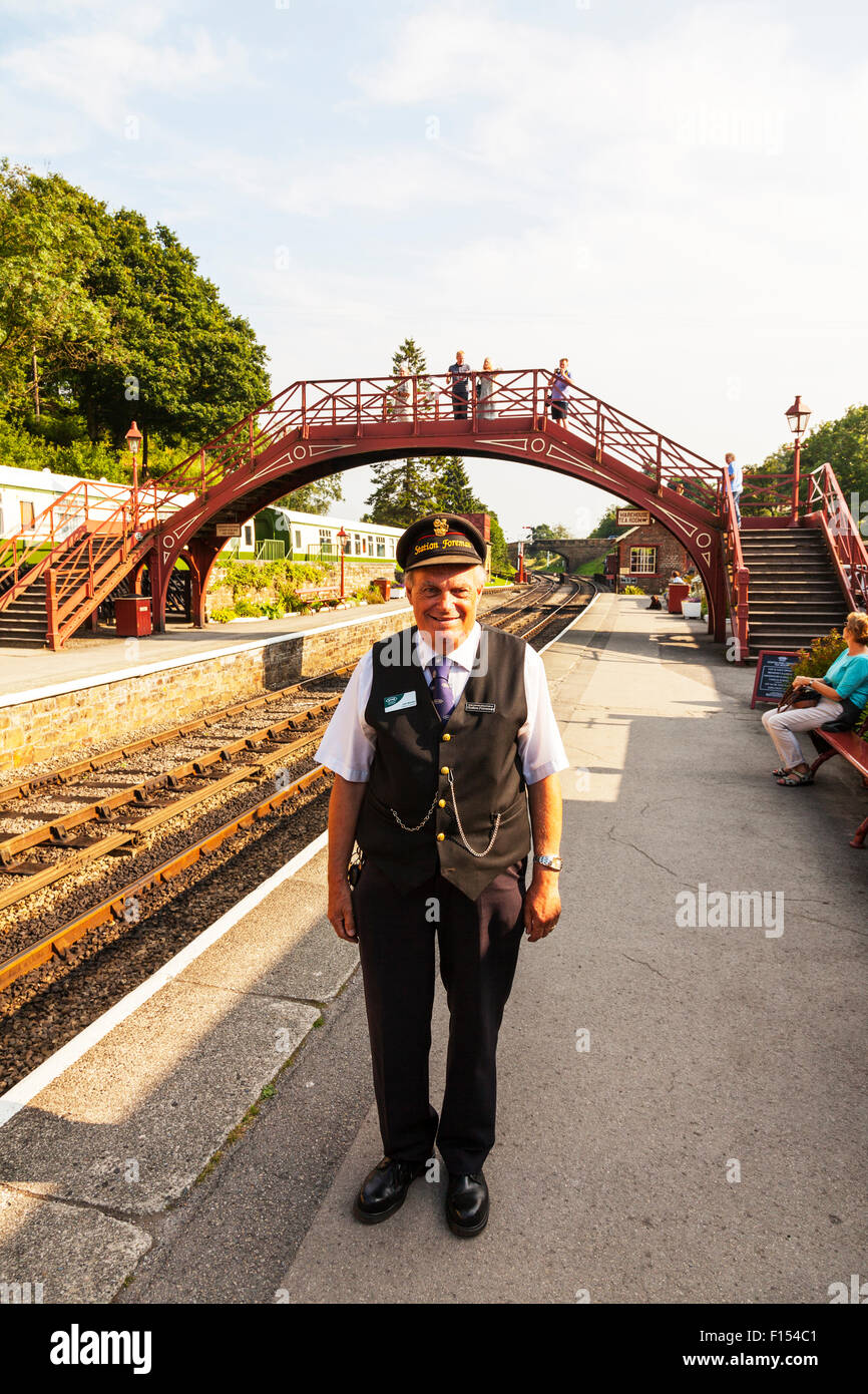 Station Foreman railway rail train station man in charge official boss Goathland UK England - Stock Image