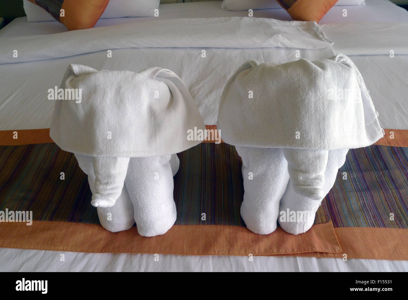 Towel Art Folded Out Of A Towel In The Form Of An Elephant Stock Photo Alamy