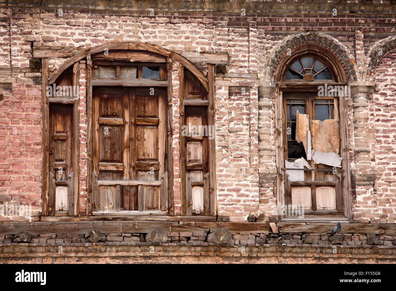 India jammu kashmir srinagar old city wooden windows and shutters of