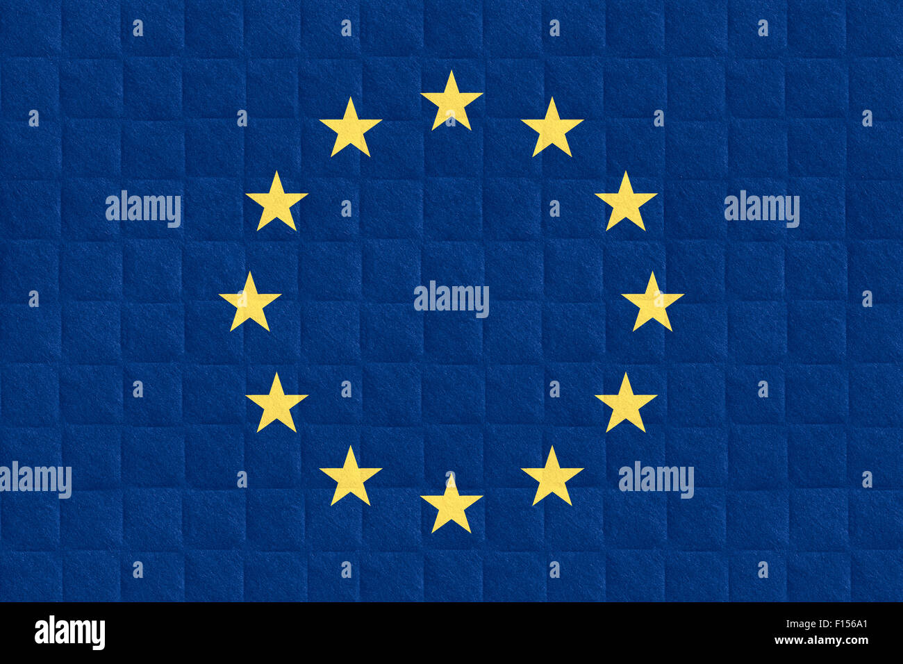 flag of European Union or banner on check pattern background - Stock Image