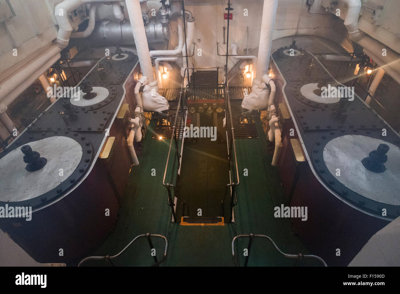 Steam engine room on steam ship SS Shieldhall Stock Photo
