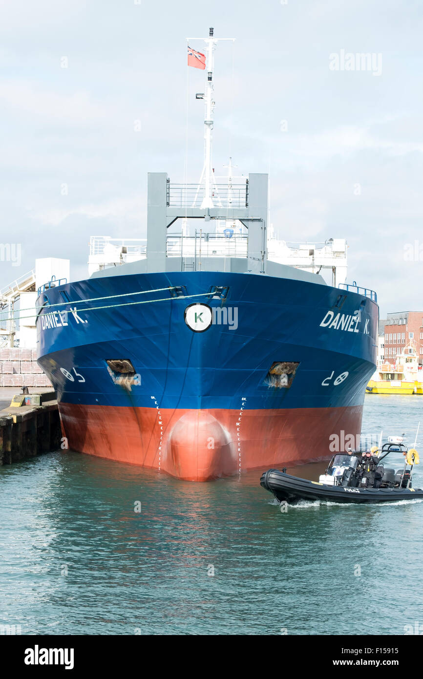 Vessel named 'DANIEL K', registered with IMO number 9198654 and MMSI 244336000 is general cargo ship. - Stock Image