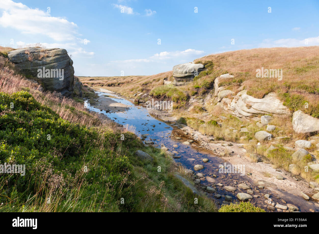 Kinder Gates on Kinder Scout in Summer. Derbyshire, Peak District National Park, England, UK - Stock Image