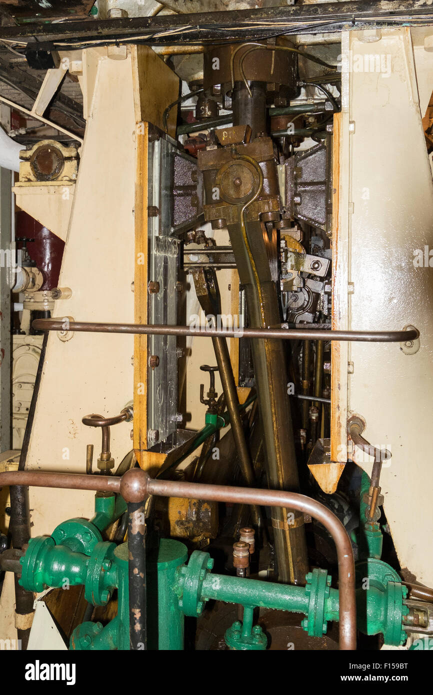 Steam engine room on steam ship SS Shieldhall Stock Photo