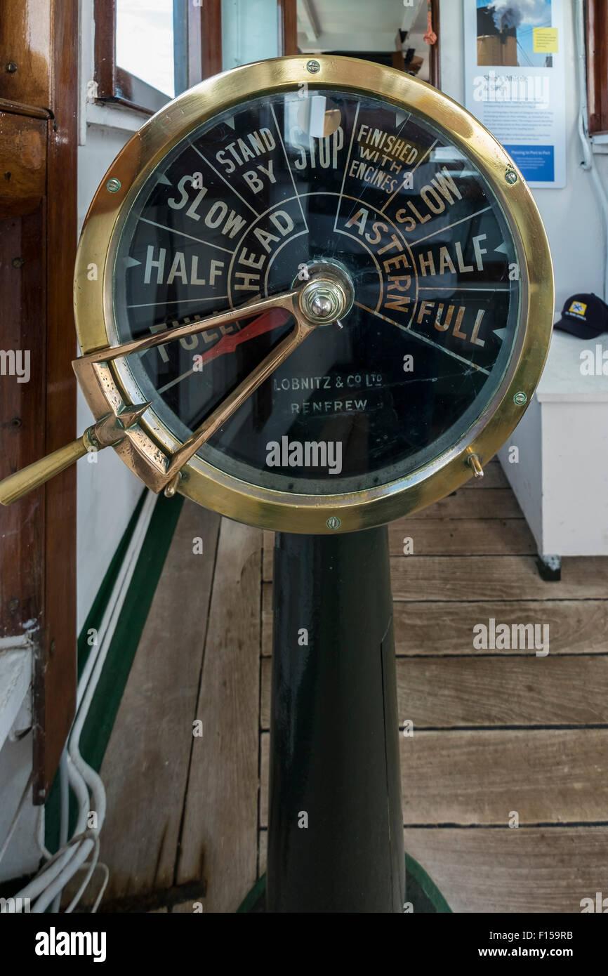 Steam Ship Engine Room: Lobnitz & Co Ltd Renfrew Ships Telegraph Onboard On Steam
