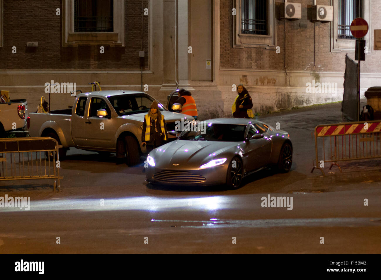 Rome, Italy. 8th March, 2015. Filming car chase scene for James Bond movie 'Spectre' in Rome, Italy. Pictured - Stock Image