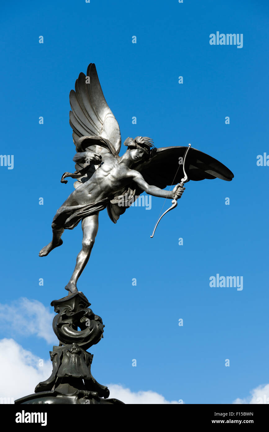 Eros statue at Piccadilly Circus, London, England, UK - Stock Image