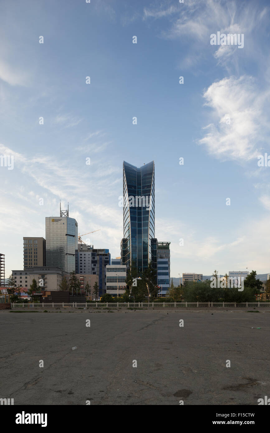 Blue Sky Hotel and Tower, downtown Ulaanbaatar Mongolia. Stock Photo