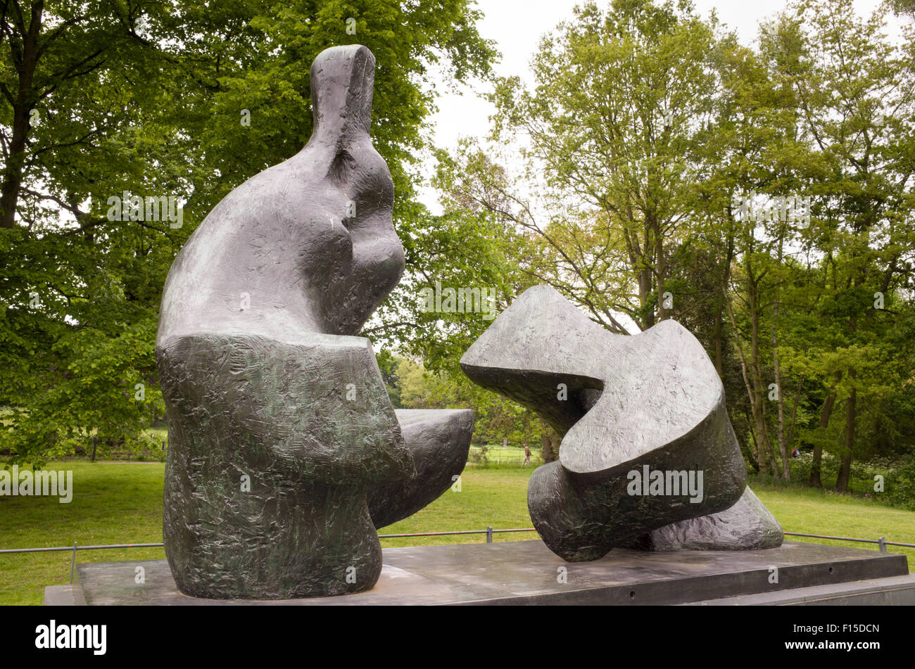 Two piece reclining figure sculpture by Henry Moore in the grounds of Kenwood House, Hampstead Heath, London, England, - Stock Image
