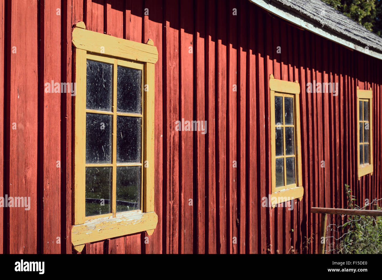yellow window frames at old red ochre painted house Stock Photo ...