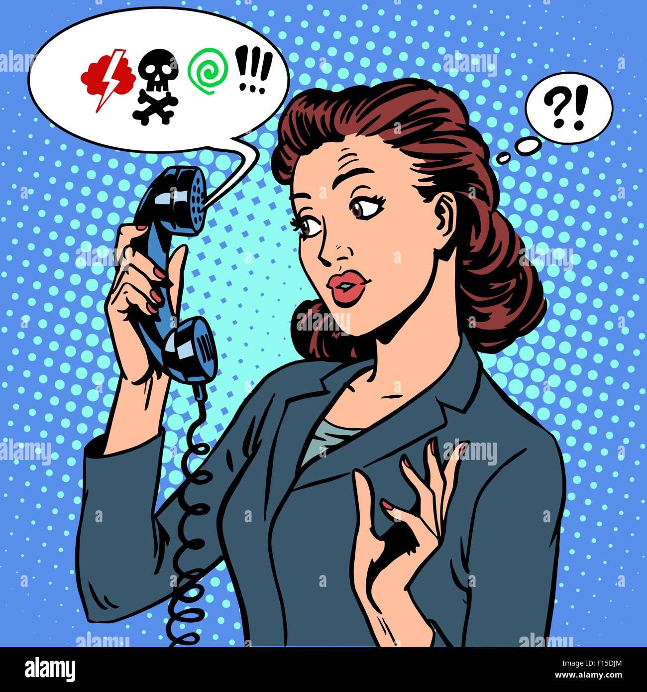 Dangerous talk phone communication viruses business woman abuse - Stock Vector
