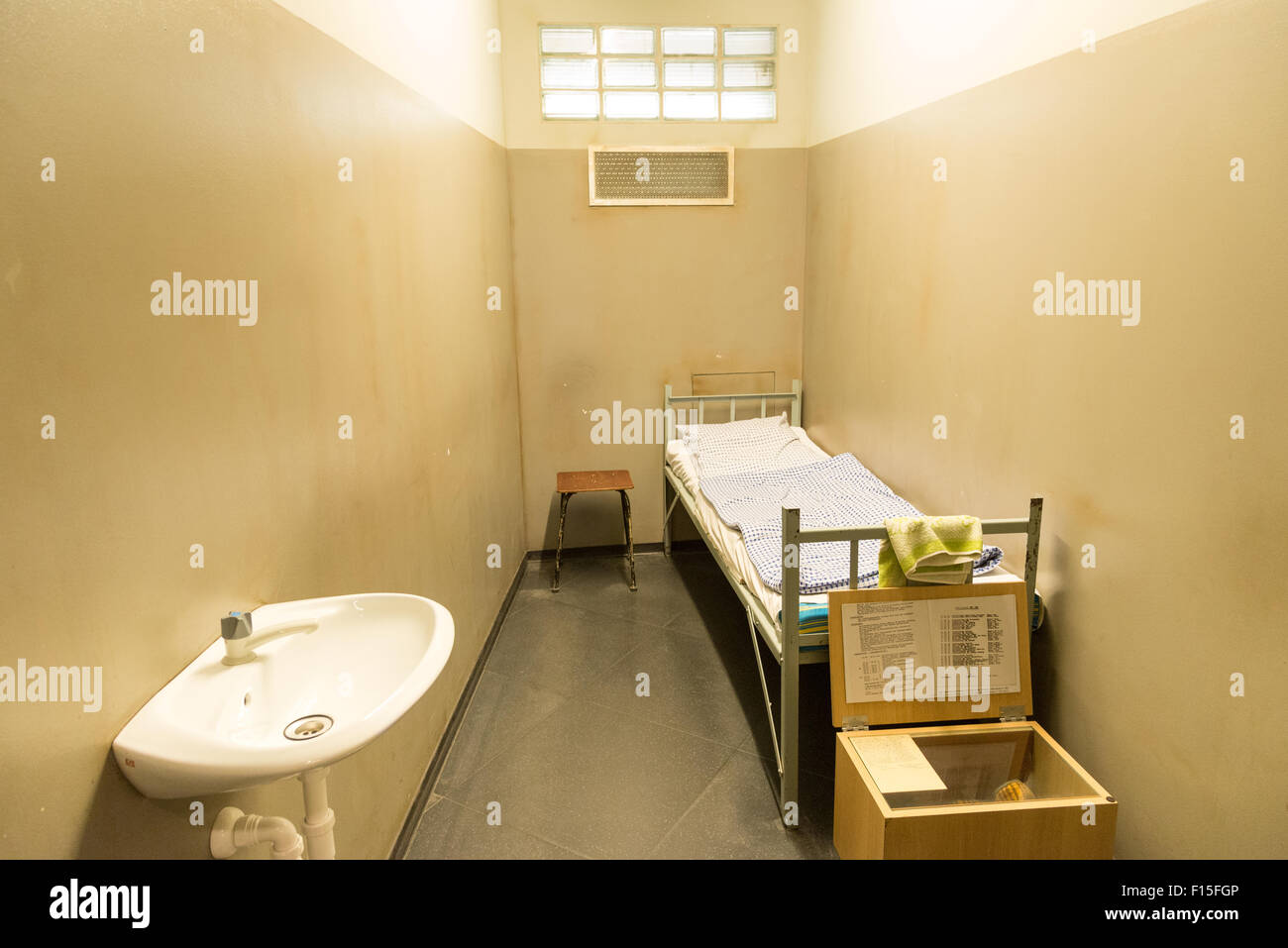 Prison cell in the DDR Museum, Berlin, Germany - Stock Image