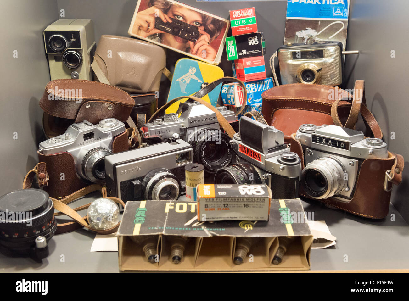 Vintage East German cameras displayed in the DDR Museum, Berlin, Germany Stock Photo