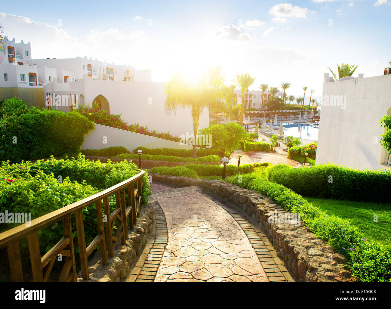 Beauty of egyptian hotel in the morning - Stock Image