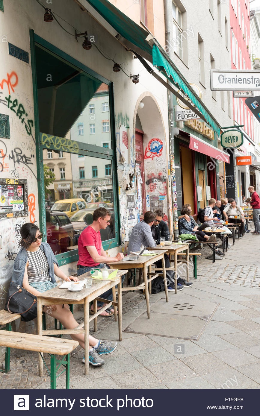 Bars and cafes in the Kreuzberg district, Berlin, Germany - Stock Image