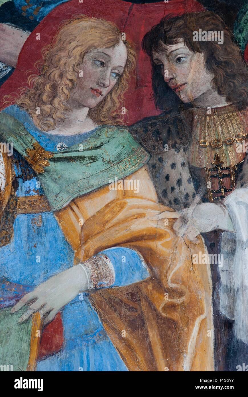 A detail of the fresco of Filippino Lippi in the Carafa Chapel in the church of Santa Maria sopra Minerva, Rome, Stock Photo