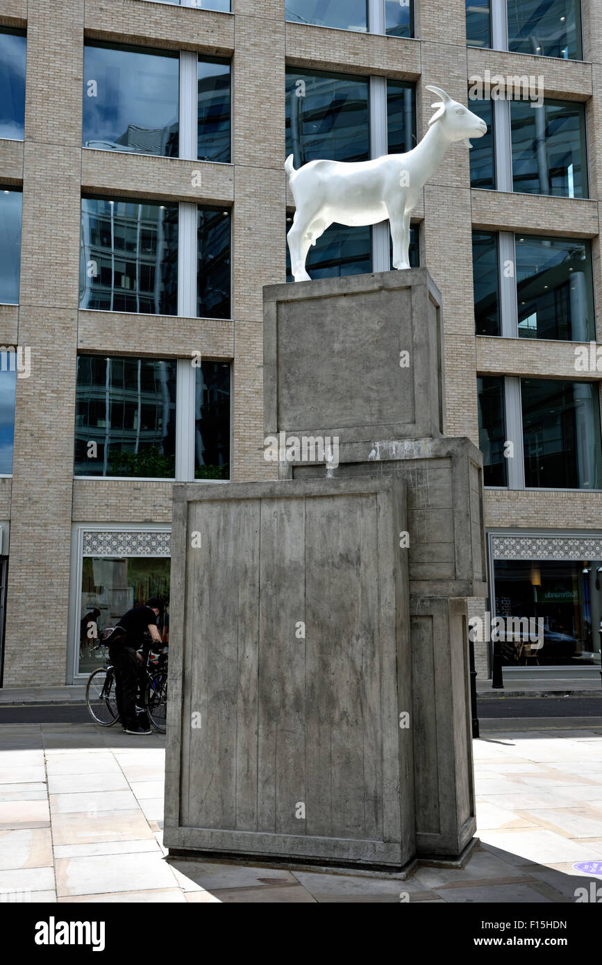 I Goat, white nanny goat sculpture or statue by Kenny Hunter Bishops Square Spitalfields London Borough of Tower - Stock Image