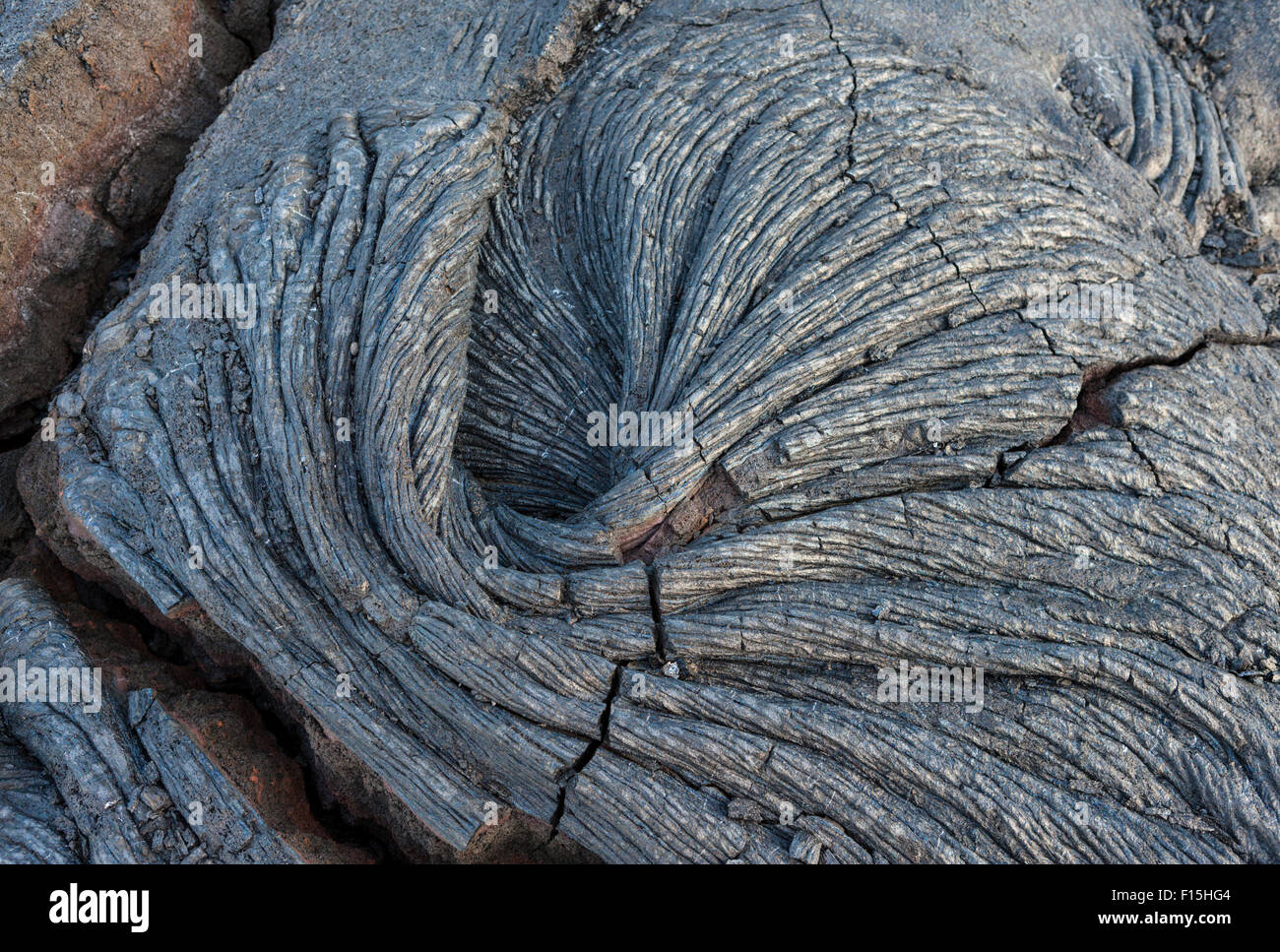 Rope lava {pahoehoe] swirl in Hawaii Volcanoes National Park on the Big Island - Stock Image