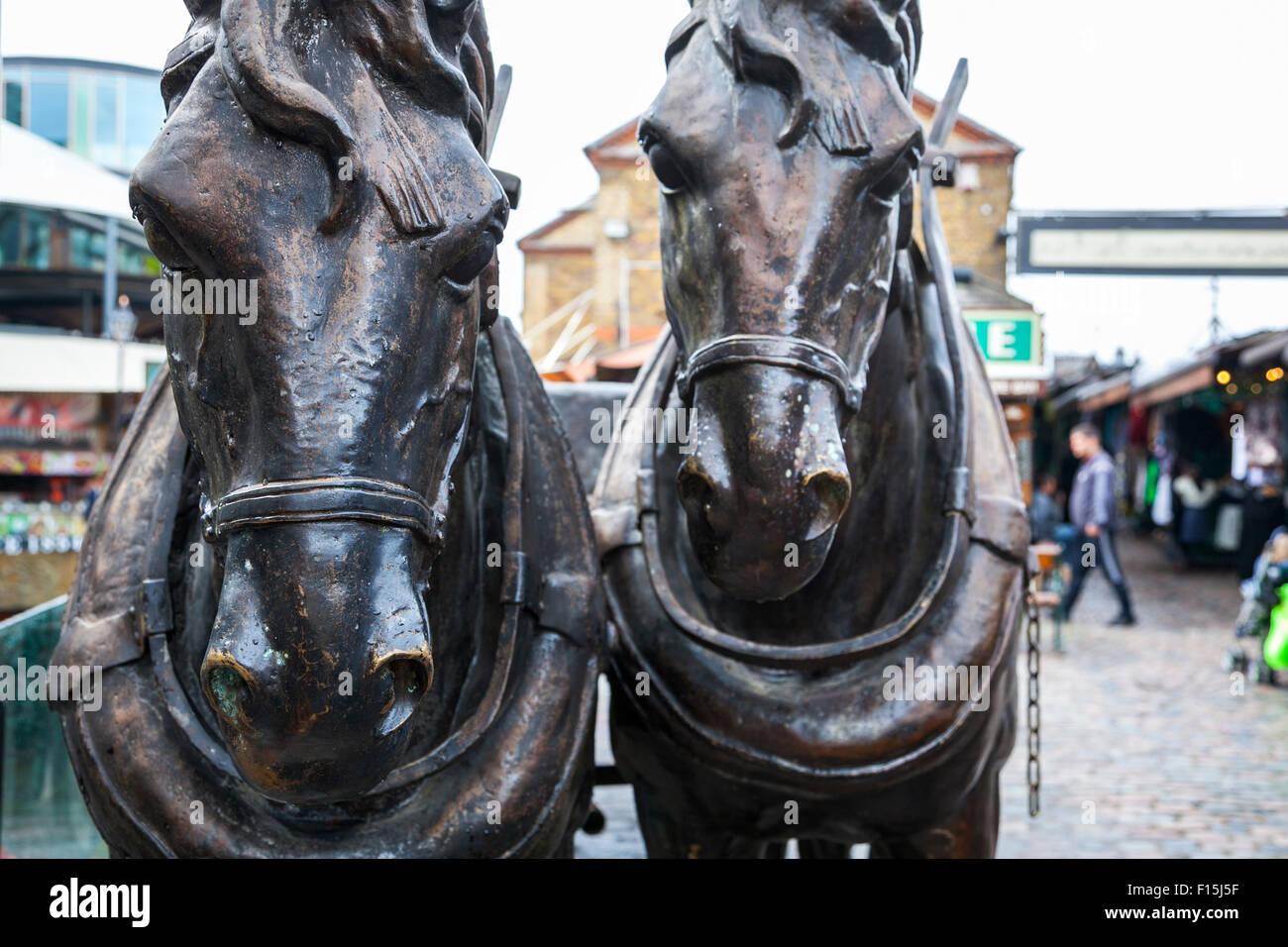 Horse sculptures in Camden Stables Market, London, UK - Stock Image