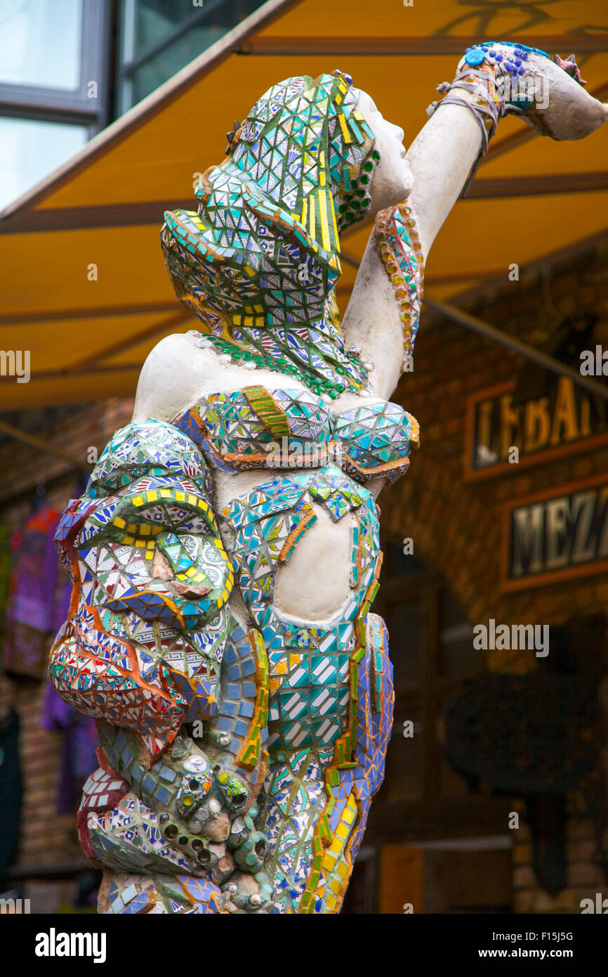 A mosaic sculpture in Camden Stables Market by French artist Francony Kowalski - Stock Image