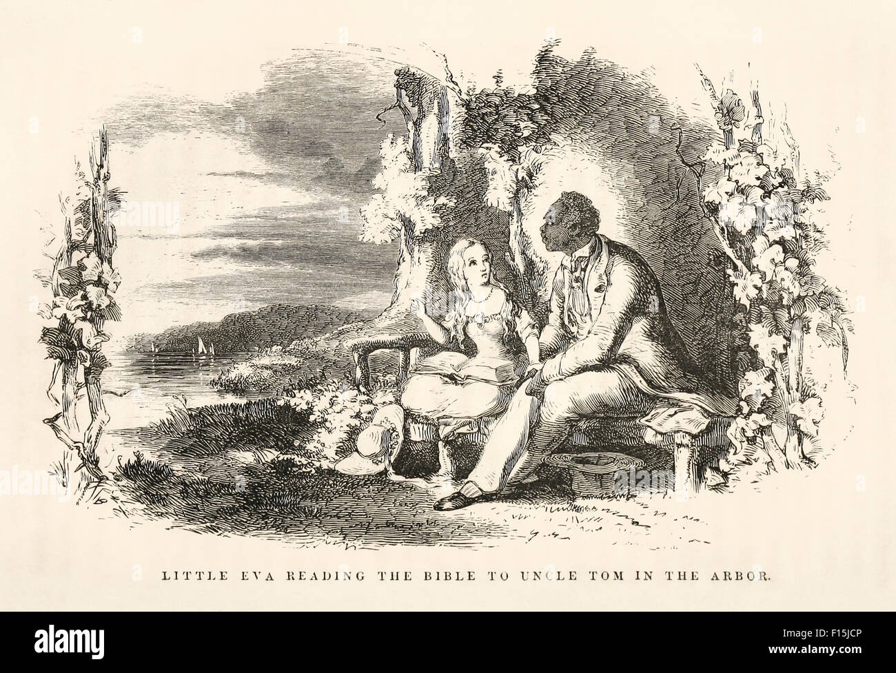 'Little Eva reading the Bible to Uncle Tom in the arbor.' Illustration by Hammatt Billings (1818-1874) from - Stock Image