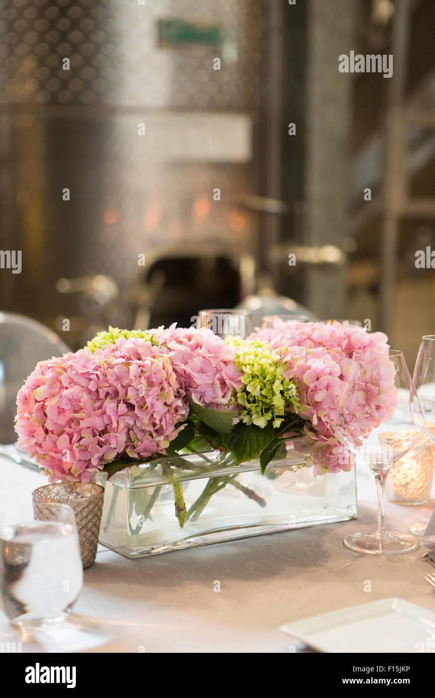 Hydrangea Centerpiece at Wedding Reception Stock Photo - Alamy