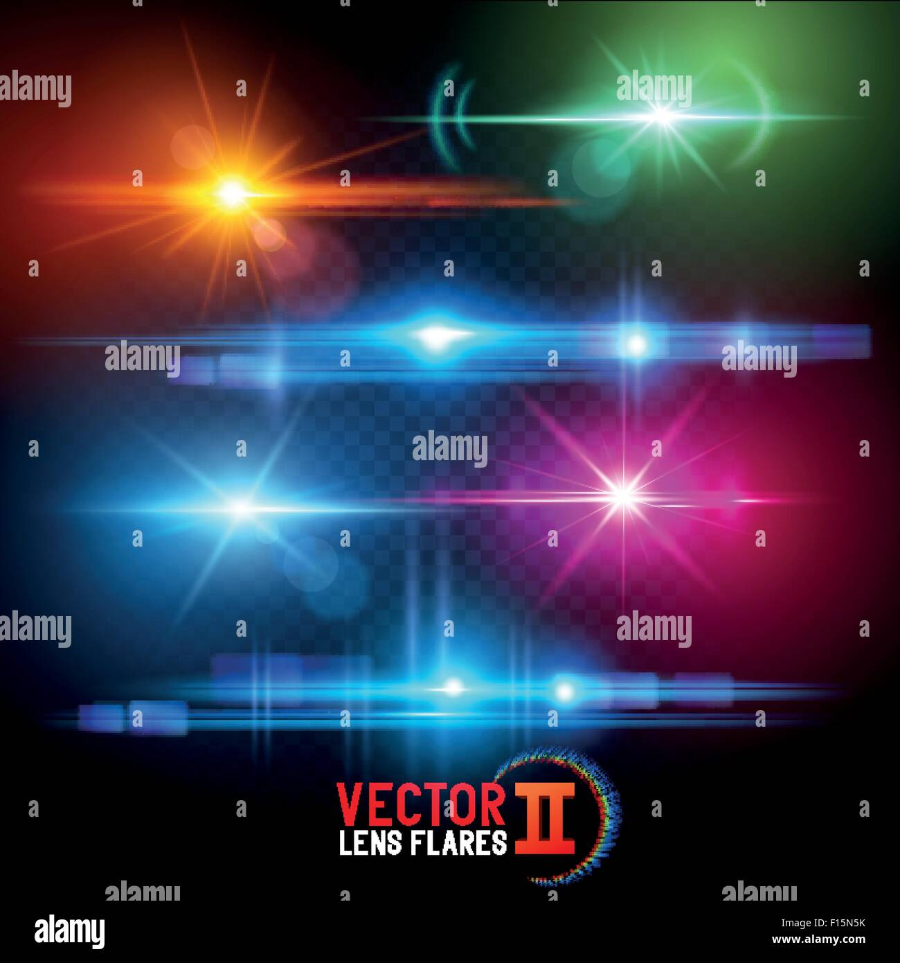 Vector Lens Flare Effects. Lens flares using transparencies. layered vector illustration. - Stock Image