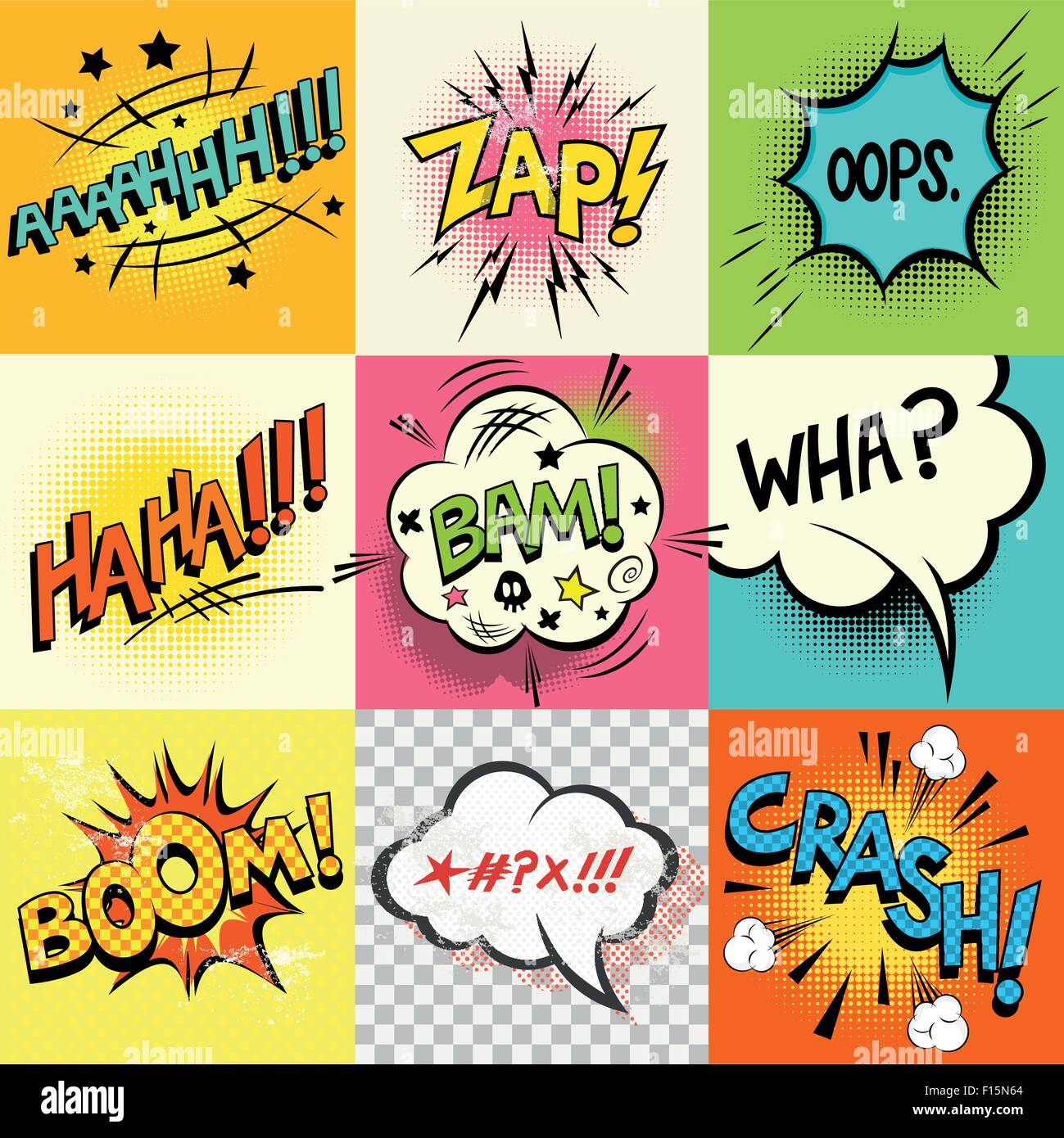 Comic Book Expressions!A set of comic book speech bubbles and expression words. Vector illustration - Stock Image