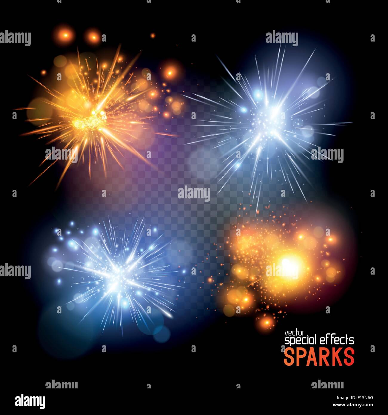 Vector Sparks. A set of vector electrical and fire sparks. Vector illustration. - Stock Image