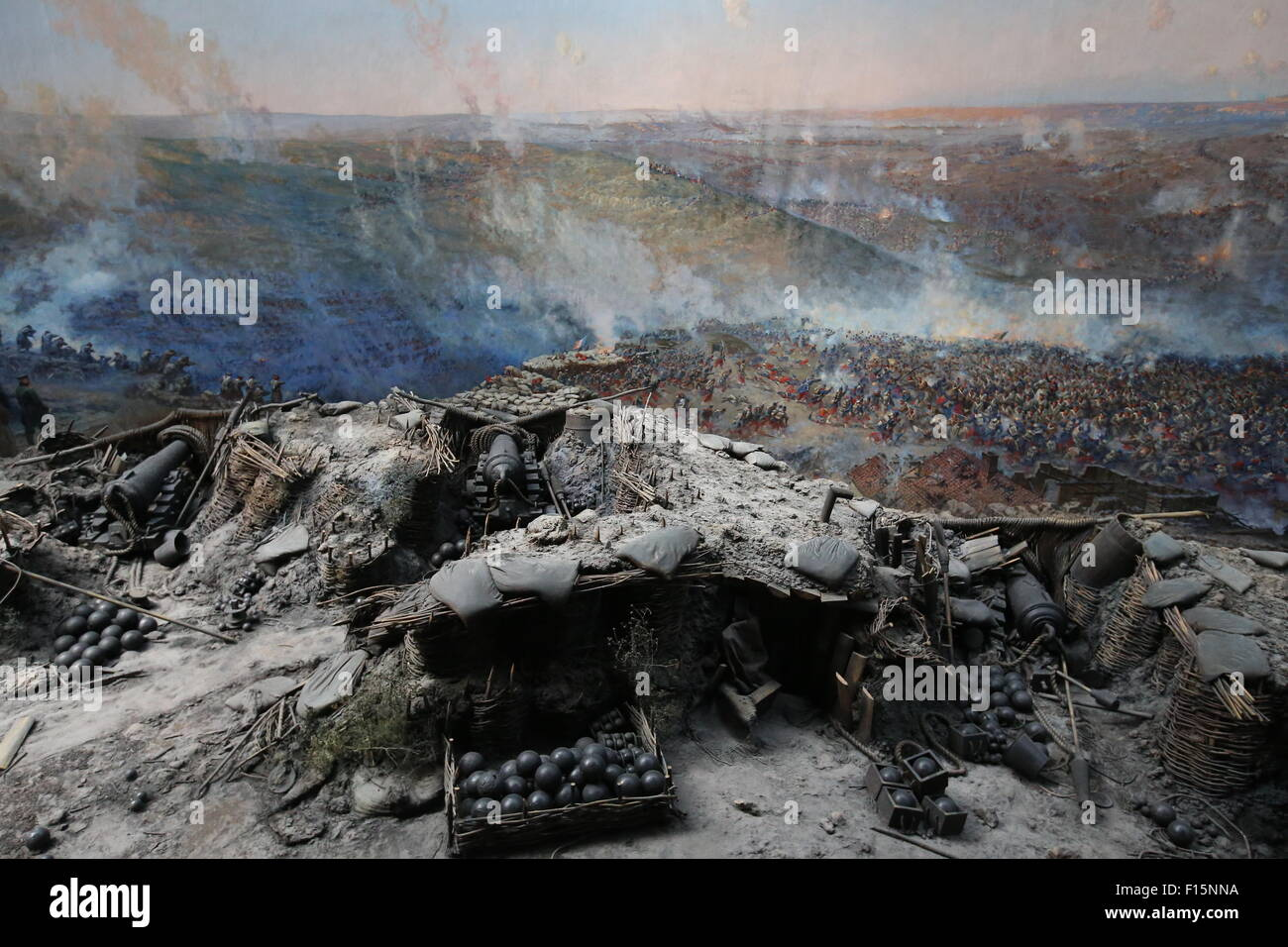 Sevastopol, Russia. 27th Aug, 2015. An image of a battle in the Siege of Sevastopol Panorama Museum, Crimea. © - Stock Image