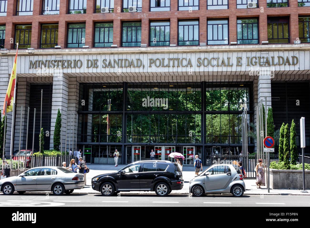 Madrid Spain Europe Spanish Centro Retiro Paseo del Prado Ministerio de Sanida Politica Social e Iguadad Ministry - Stock Image