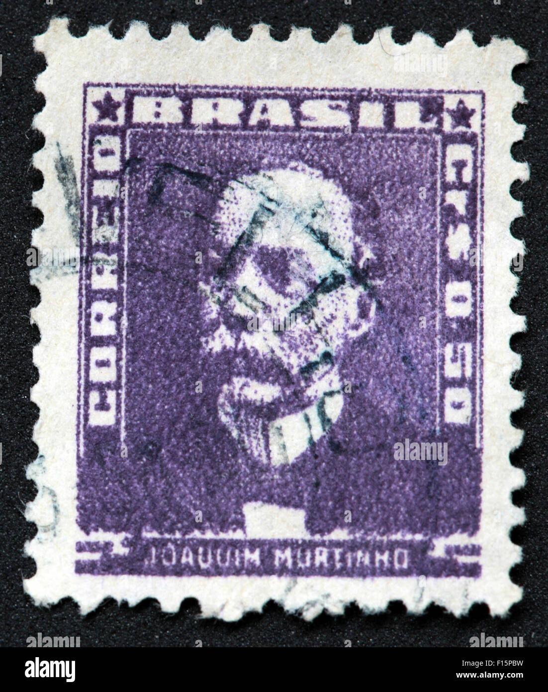 Brazil 50 Joauuim Murtinno Correio purple stamp - Stock Image