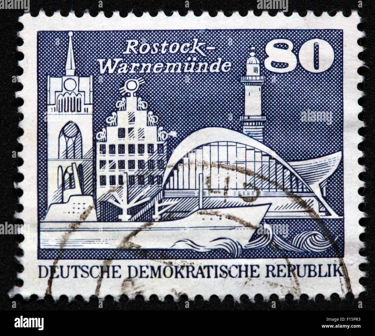 Deutsche Demokratische Republik DDR Rostock-Warnemunde 80 Stamp - Stock Image