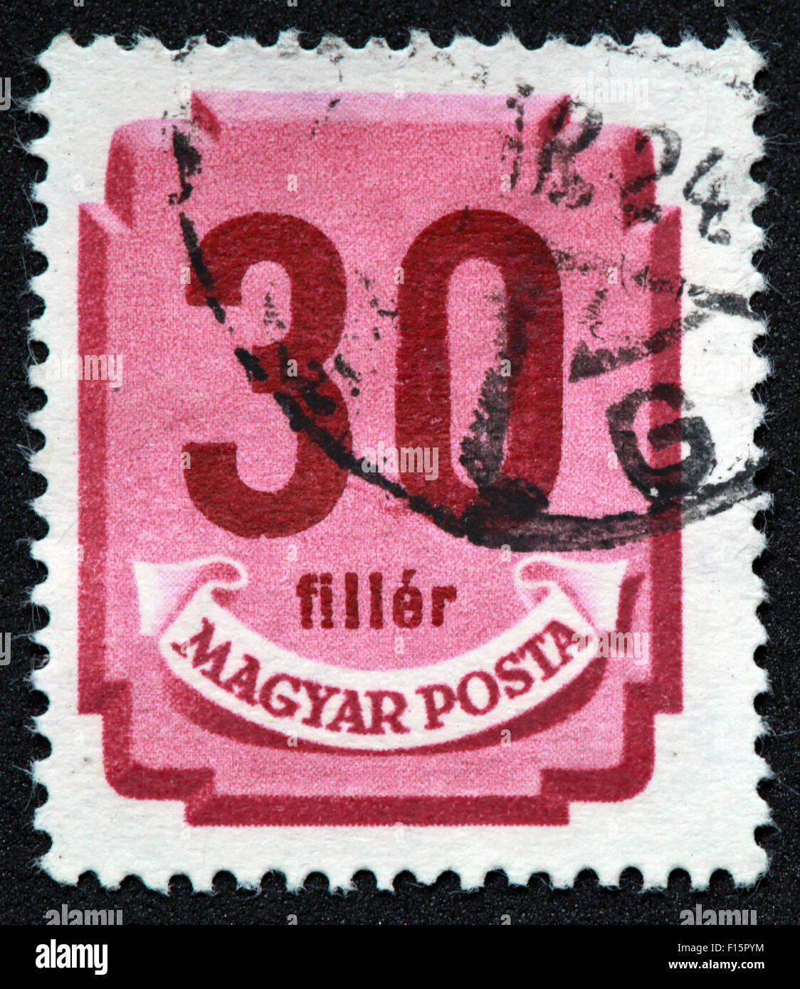 Magyar Posta 30 Filler Pink Red Stamp - Stock Image