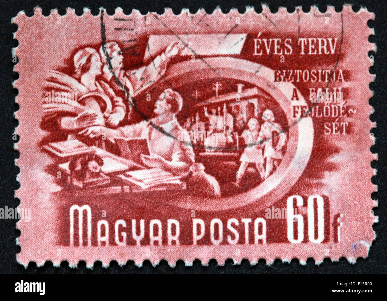 Magyar Posta 60f Eves Terv Biztositja a falu feulode set Stamp - Stock Image