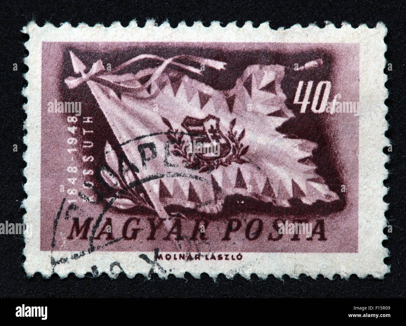 Magyar Posta 1848 1948 1848-1948 40f purple lilac Kossuth Flag Molnar Laszlo stamp - Stock Image