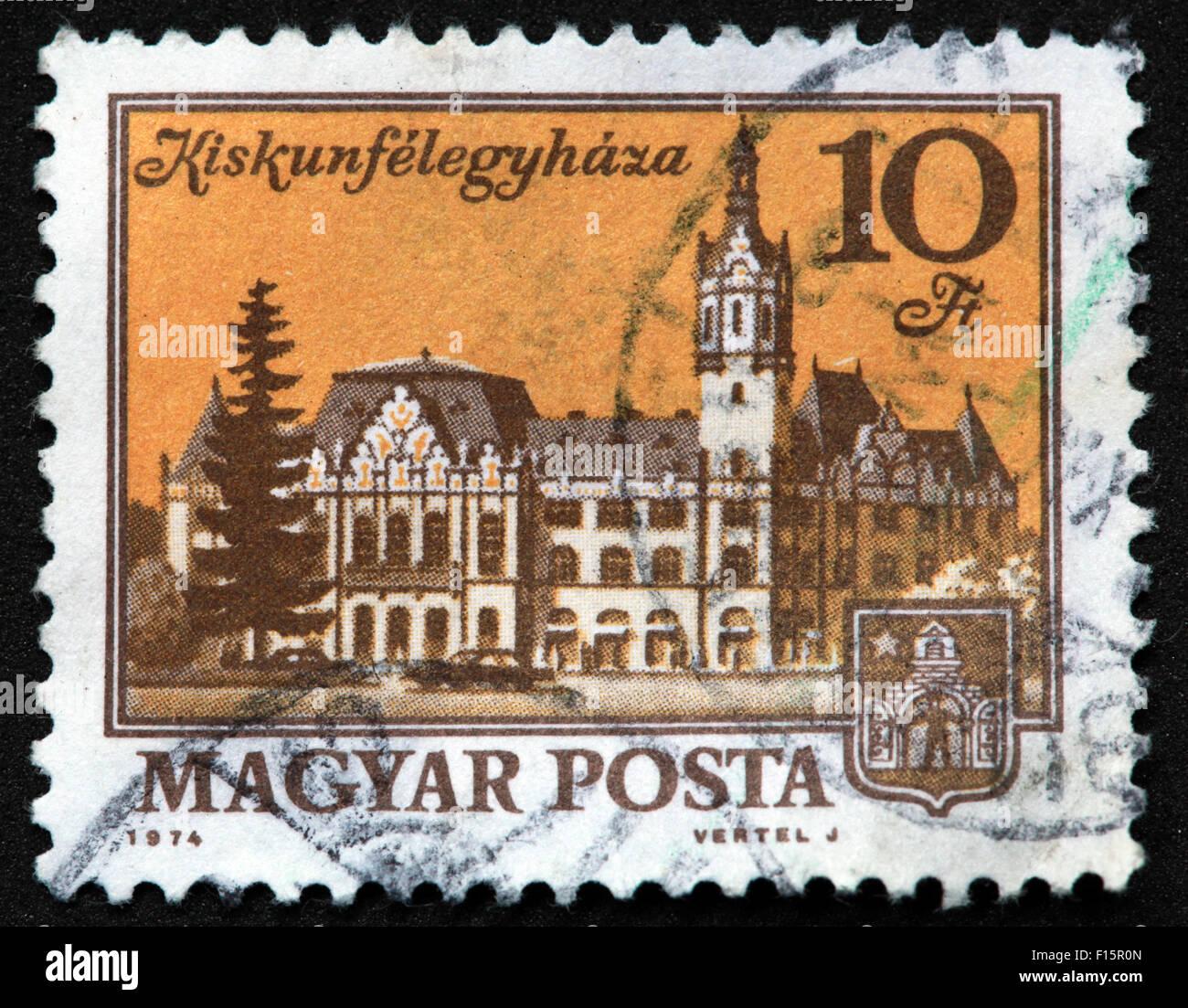 Magyar Posta 1974 Vertel J Kiskunfelegyhaza 10Ft castle house Stamp Stock Photo