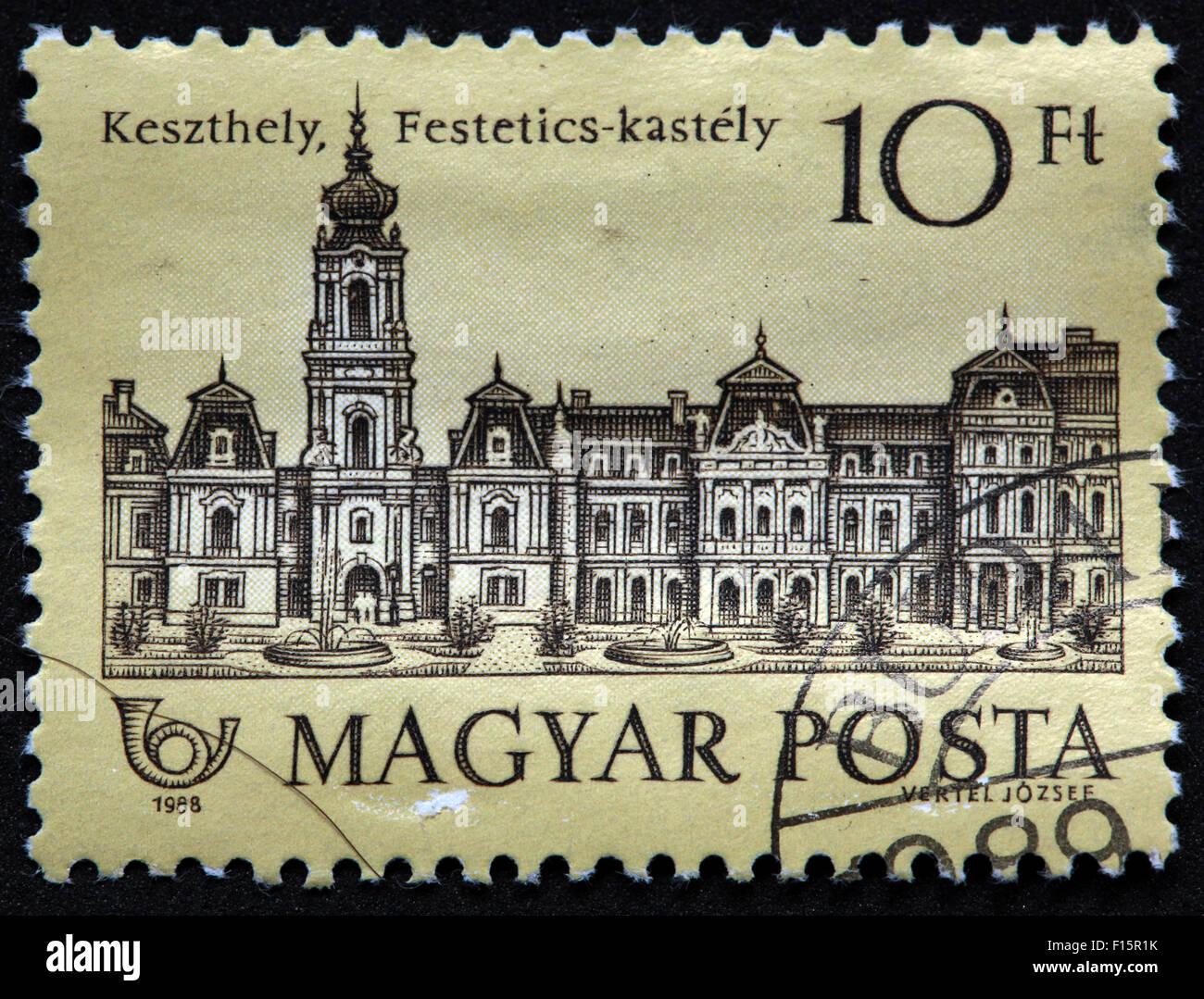Magyar Posta vertel Jozsee 10Ft Keszthely Festetics-kastely 1988 Stamp - Stock Image