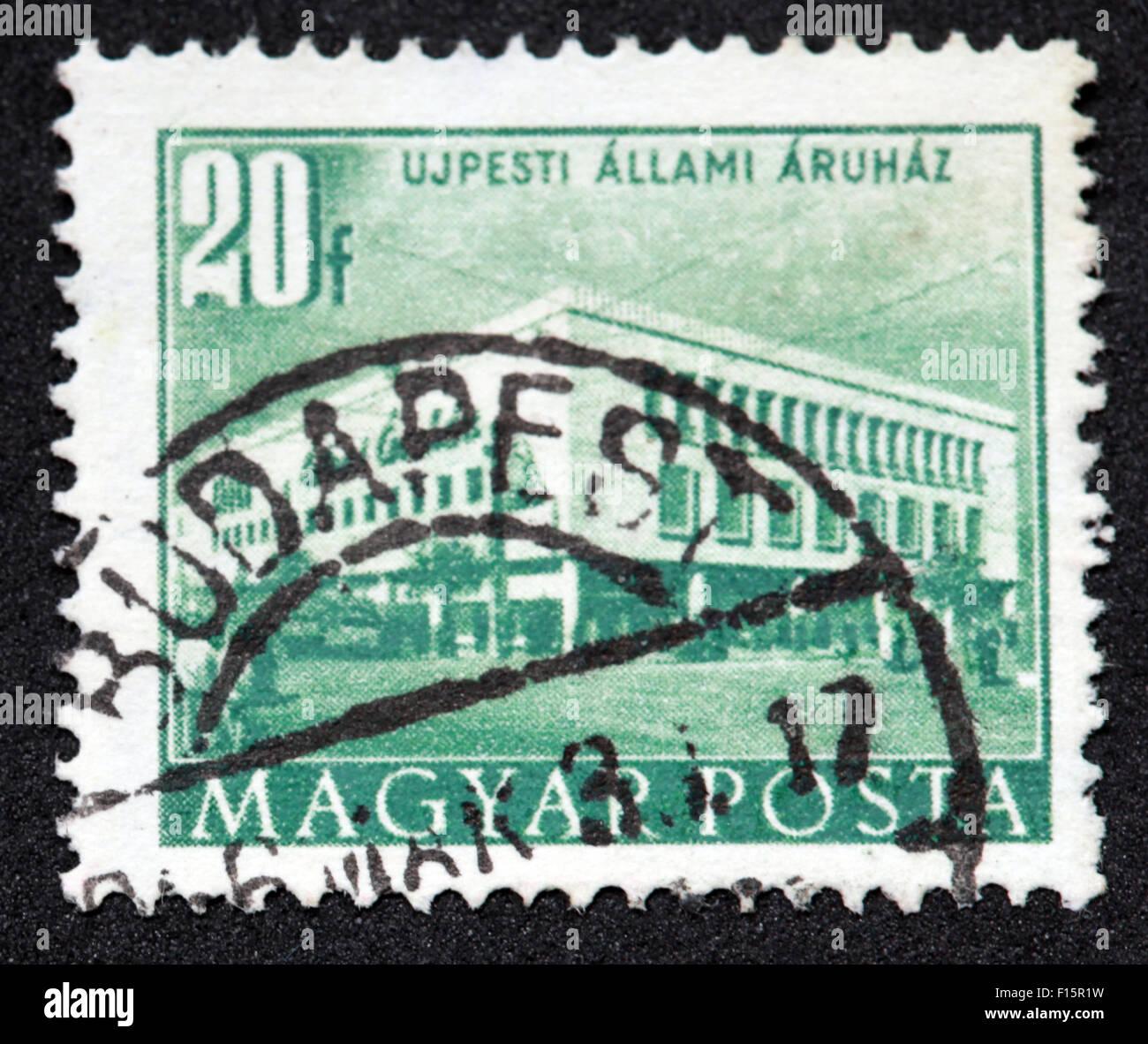 Magyar UjPesti Allami 20f Budapest postmark Stamp - Stock Image