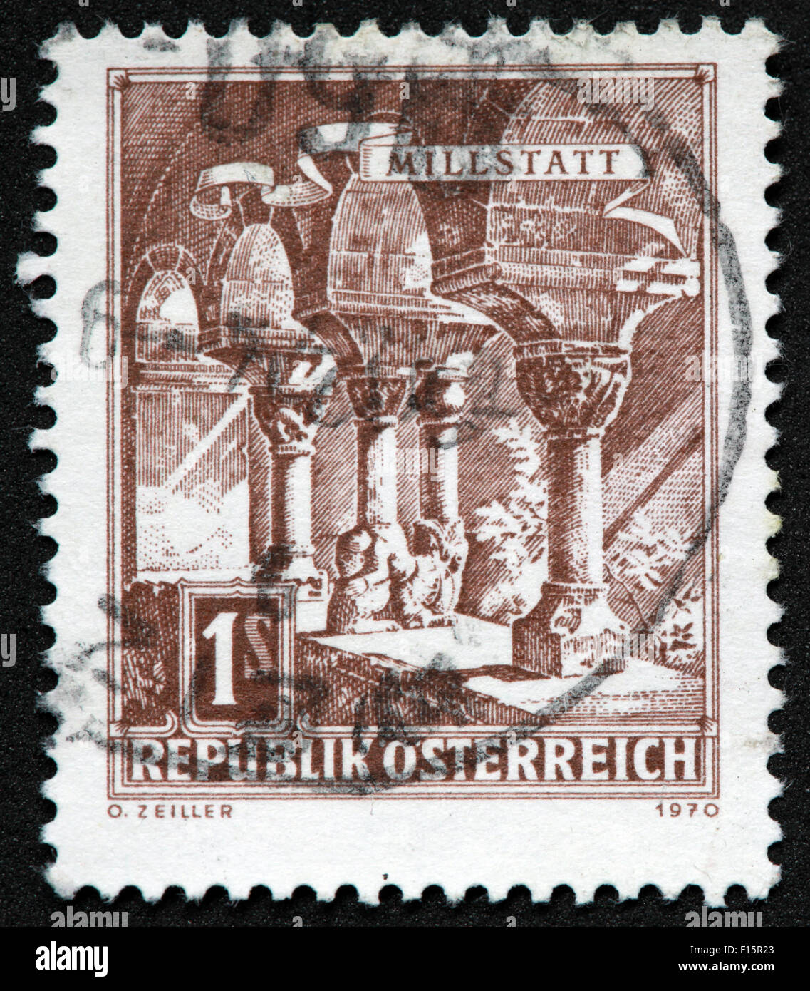 Millstatt 1s Republik Osterreich 1970 O.Zeiller Brown Stamp - Stock Image